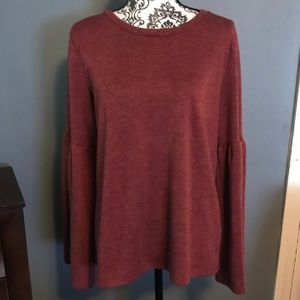 Lucky Brand Size Large Maroon LS Bell Sleeve Top